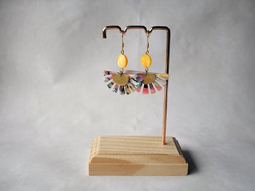 Boucles d'oreilles Evie Jaune - Demi soleil acétate écaille , demi-lune et inox