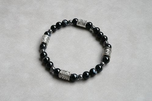 """Bracelet """"Naturea"""" Onyx Agate noire et Hématite"""