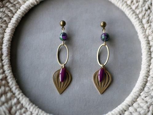 Boucles d'oreilles Selena - Boucles d'oreilles pendantes en laiton