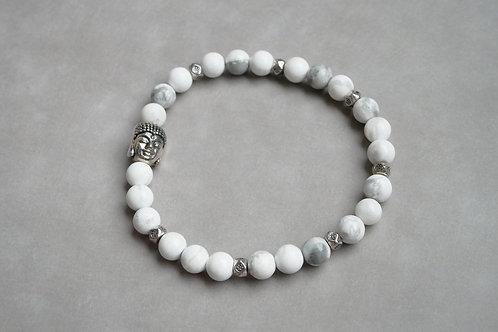 """Bracelet """"Naturea"""" Howlithe blanche et Bouddha"""