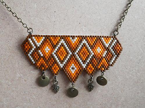 Catriona Orange et Marron - collier plastron miyuki