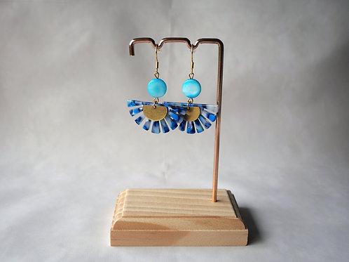 Boucles d'oreilles Evie Bleu - Demi soleil acétate écaille , demi-lune