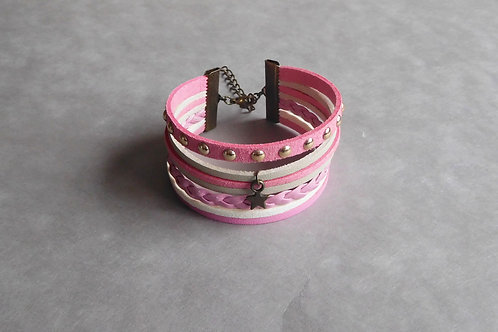 Pastela - Manchette Simili cuir et suédine rose et blanc