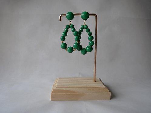 Boucles d'oreilles Julie, Créoles en perles résine vert malachite, Bijoux vinta