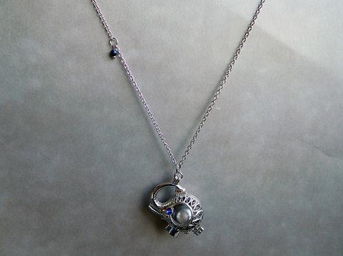 Bola de grossesse éléphant argenté et perles bleues lapis