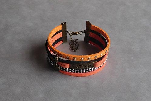 Amour orangé - Manchette simili-cuir et suédine orange et noir