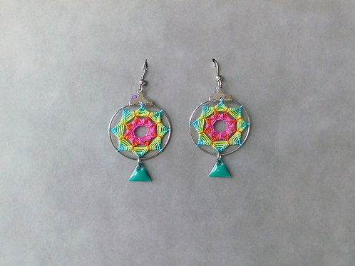 Sunny Turquoise - boucles d'oreilles attrape-rêves soleil et sequin turquoise