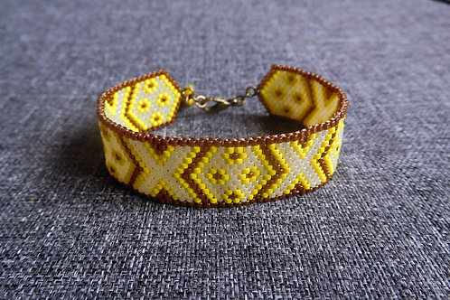 Bella jaune et cuivré - Bracelet manchette miyuki