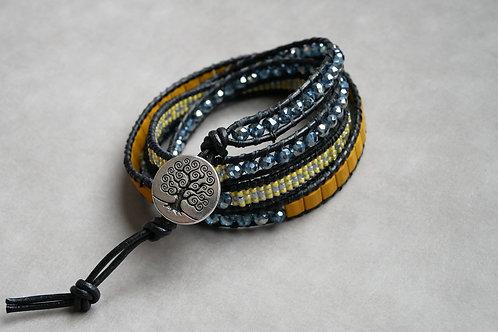 Bracelet Wrapy Jaune et noir - Wrap 4 tours