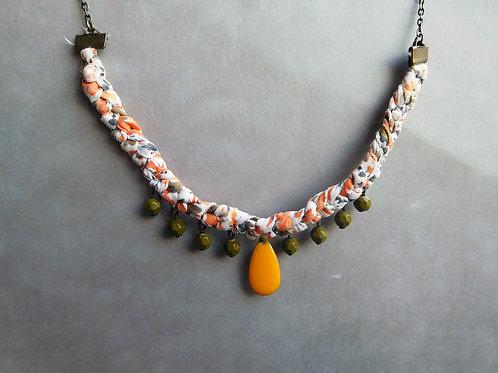 Tressia Kaki et orange - Ras de cou liberty tressé