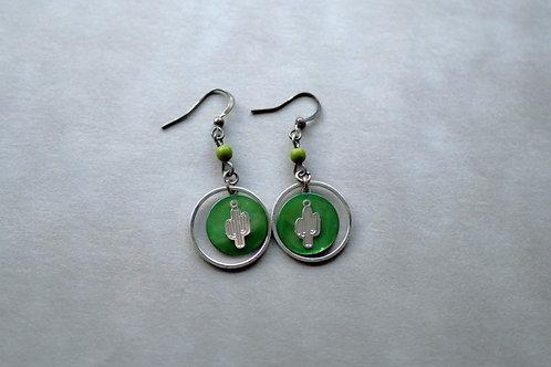 Cactusia verte - Boucles d'oreilles fantaisies argentées