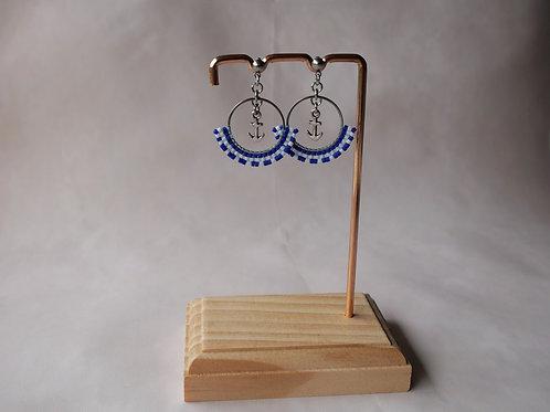 Boucles d'oreilles Marine - créoles perles miyuki et ancre- modèle bleu marine