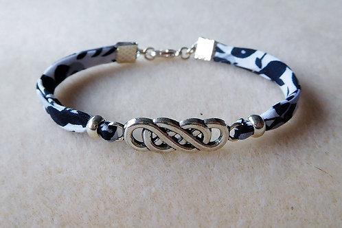 Bracelet Liberty fleuri noir et blanc