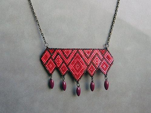 Elea Rouge et bordeaux - collier plastron miyuki