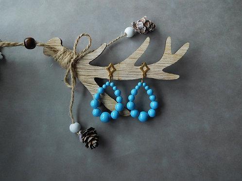 Créoles Julia en perles bleu turquoise (grand modèle)