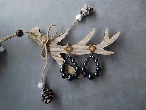 Créoles Julia en perles nacrées noires (grand modèle)