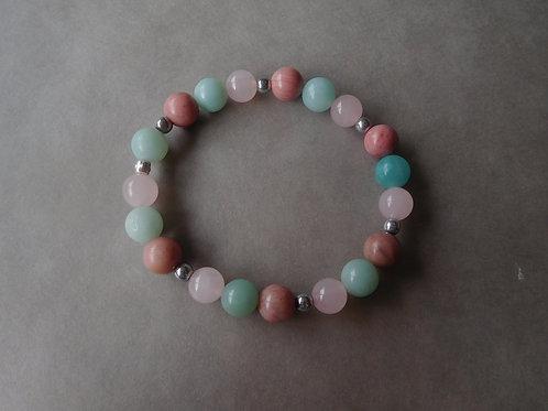 """Bracelet """"Amour"""" Amazonite, Rhodonite et Quartz Rose - perles de 8mm"""