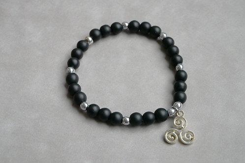 """Bracelet """"Naturea"""" Onyx Agate noire mat"""
