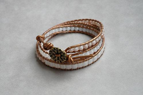 Bracelet Wrapy Ivoire et marron - Wrap 3 tours