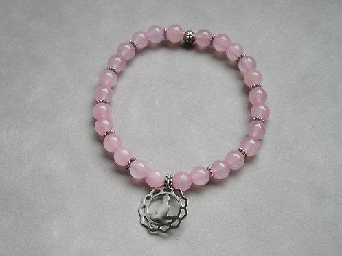 """Bracelet """"Naturea"""" Quartz rose et médaille zen"""