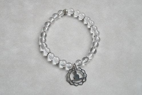 """Bracelet """"Naturea"""" Cristal de roche et médaille zen"""