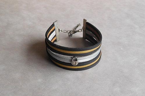 Métalia - Manchette simili-cuir et suédine noir, doré et argenté