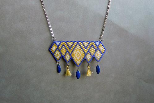 Elea jaune et bleu - collier plastron miyuki