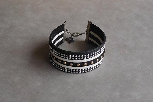 Blackwhite - Manchette simili-cuir et suédine noir et blanc