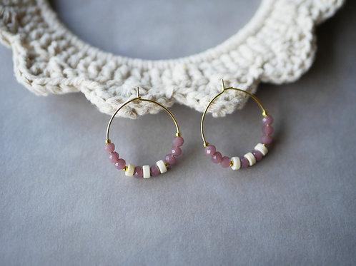Créoles Lyra - Boucles d'oreilles Créoles en perles de verre et inox