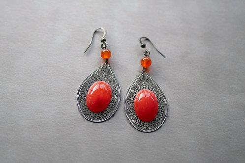 Oriana orange - boucles d'oreilles estampes filigranes argentées