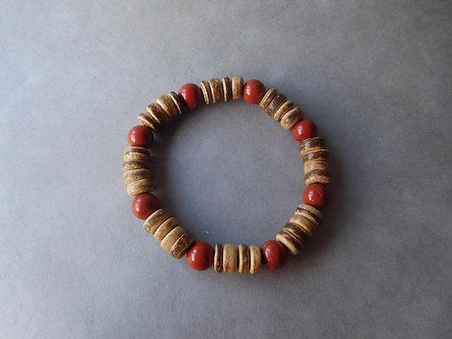 Bracelet Jaspe Rouge et Coco - perles de 8 mm