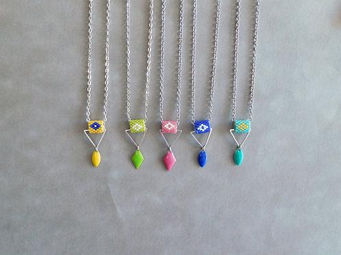 Collier Tasya perles miyuki - Collier  géométrique avec tissage miyuki et sequin