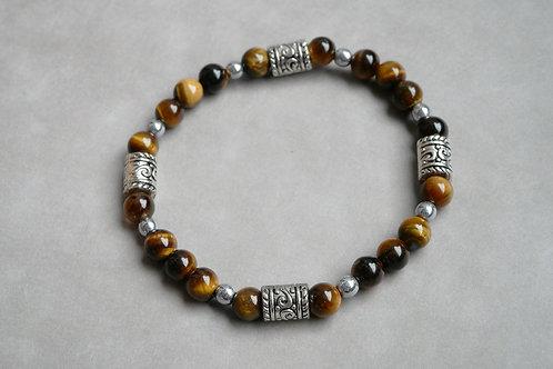 "Bracelet ""Naturea"" Oeil de tigre et Hématite"