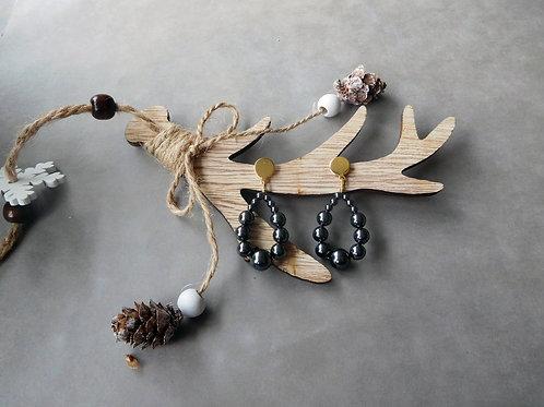Créoles Juliette en perles noires (petit modèle)