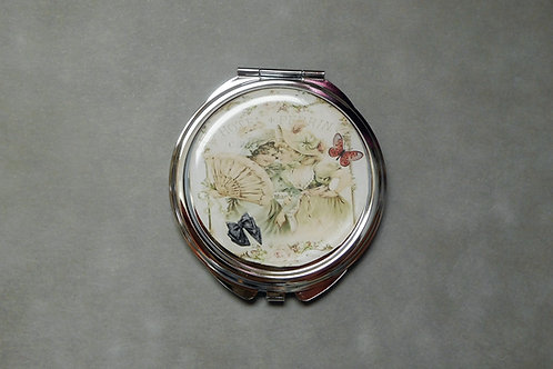 """Miroir Vintage """"Marquises"""" - double miroir de poche avec cabochon"""