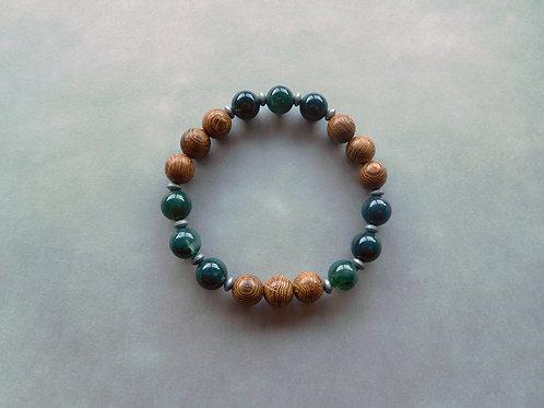 Bracelet Agate Mousse et Bois - perles de 8 mm