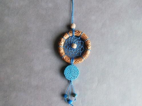 Blue - Attrape-rêves à parfumer pour voiture - modèle bleu, palet et anneau bois
