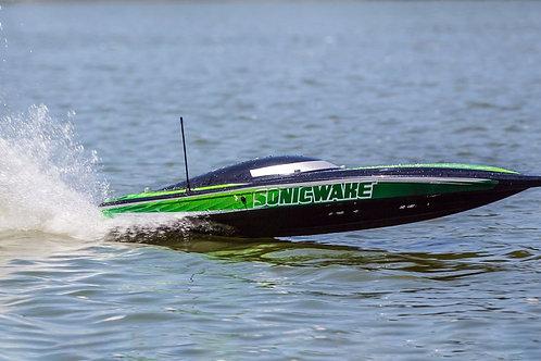 "ProBoat Sonicwake 36"" Self-Righting Brushless Deep-V RTR, Black/Green"