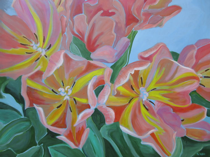 Tulips, acrylic on canvas, 36 x 48