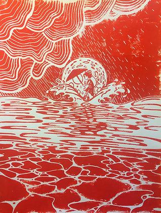 POCHIET Yoann, Fillette au clair de lune rouge