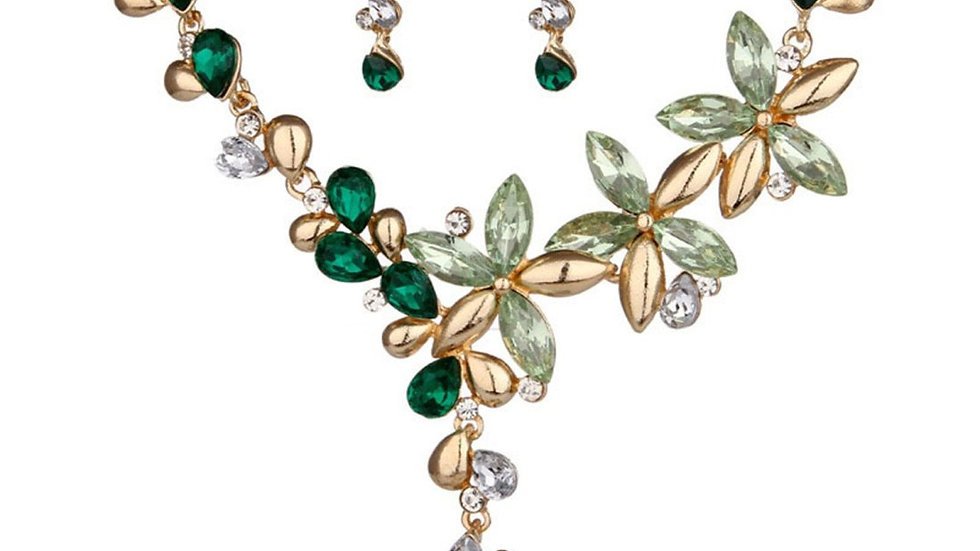 Branches & Leafy Floral Blue Colorful Crystal Necklace Earrings Set GREEN