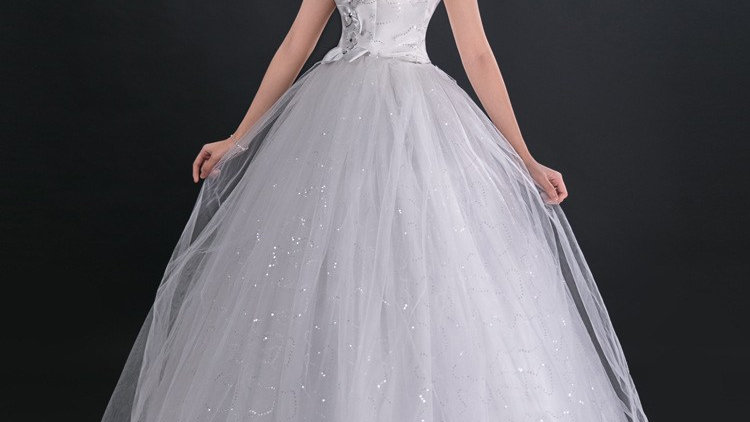 Wedding special White Mandarin Collar Lace Floor-Length Bridal Gown