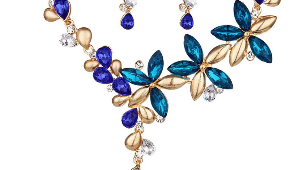 Branches & Leafy Floral Blue Colorful Crystal Necklace Earrings Set