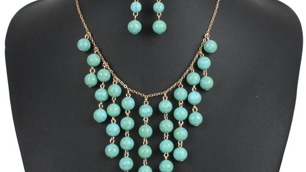 Turquoise Collection Handmade Tassel Weavy Imitation Necklace & Earrings Set