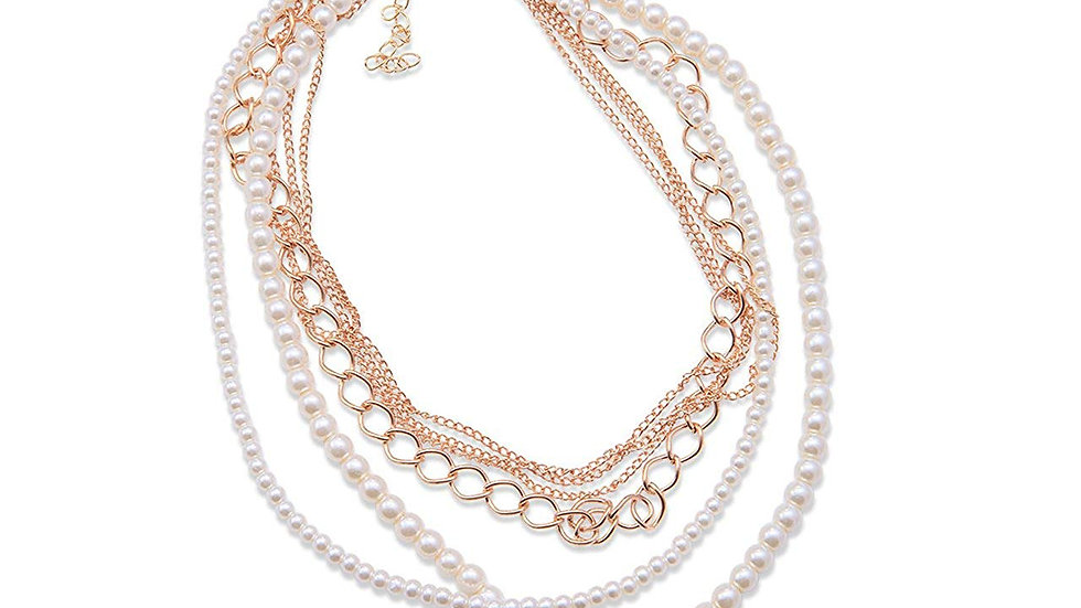 Korean Fashion Delicate Chains Multi-Layer Imitation Beaded Pearl Necklace