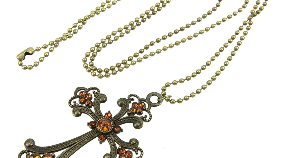 Floral Cross Champagne Color Rhinestone Studded Long Ball Chain Vintage Necklace