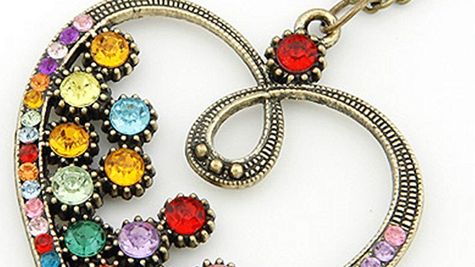 Friendship Love Heart Lovely Multicolour Rhinestone Stud Vintage Look Necklace