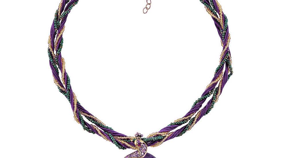 Multicolor Purple Retro Bohemia Style Millet Chain Cat's Eye Stone Phoenix