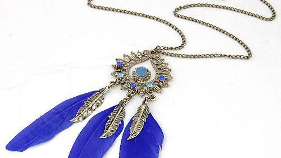 Royal Blue Triple Feathers Dangle Pendant Fashion Necklace