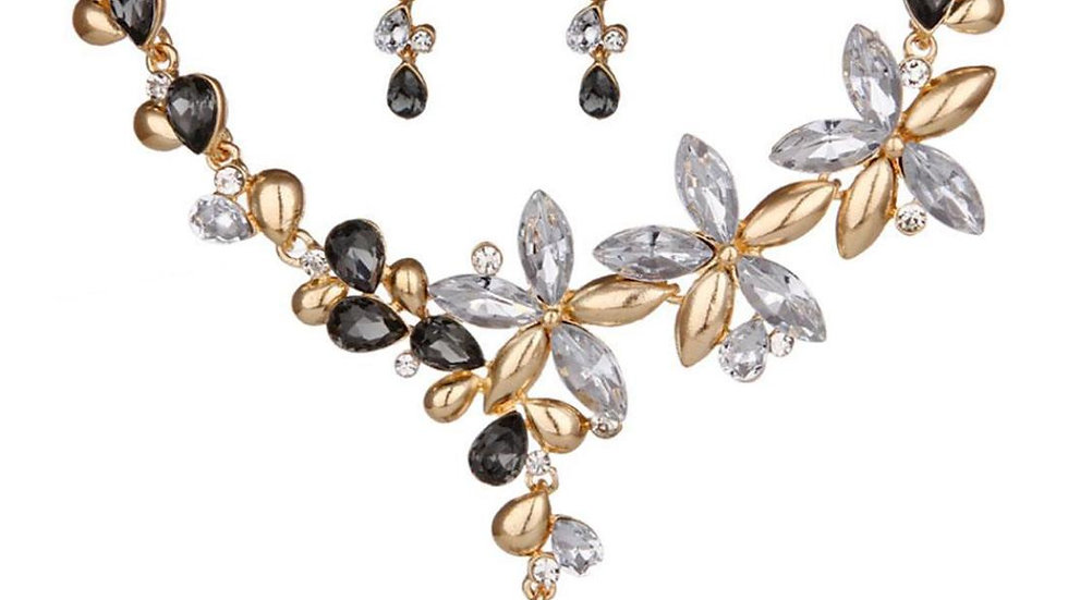 Branches & Leafy Floral Black Colorful Crystal Necklace Earrings Set
